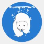 Oso polar subacuático etiqueta redonda