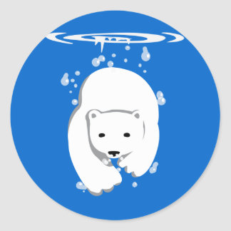 Oso polar subacuático pegatina redonda