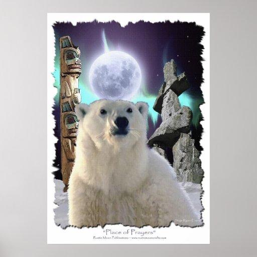 Oso polar, tótemes, Inukshuks y Luna Llena Póster