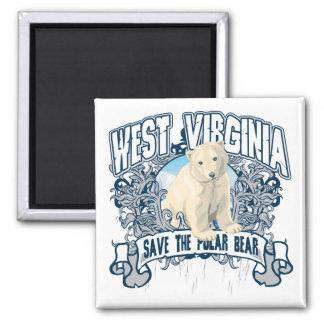 Oso polar Virginia Occidental Imán Cuadrado