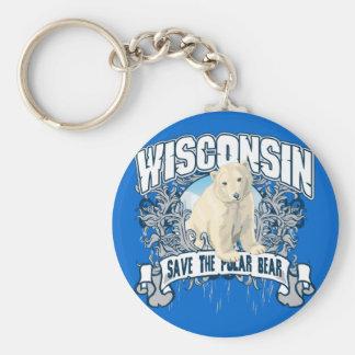 Oso polar Wisconsin Llavero Redondo Tipo Pin