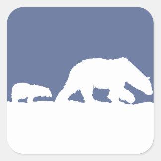 Oso polar y Cub Pegatina Cuadrada