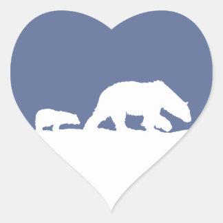 Oso polar y Cub Pegatina En Forma De Corazón
