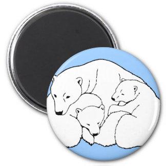 Oso polar y regalos del arte de la fauna de Magent Imán Redondo 5 Cm