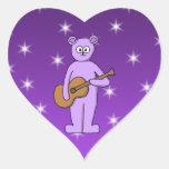 Oso púrpura del guitarrista calcomania corazon personalizadas