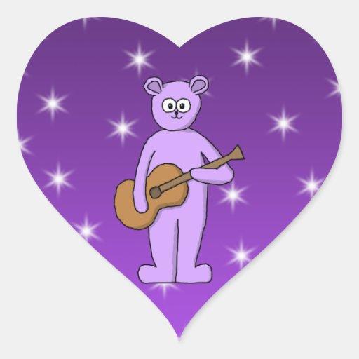 Oso púrpura del guitarrista pegatina en forma de corazón