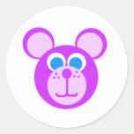 Oso púrpura etiquetas redondas