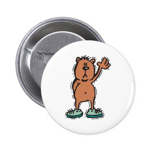 oso que agita lindo en zapatillas de deporte pins