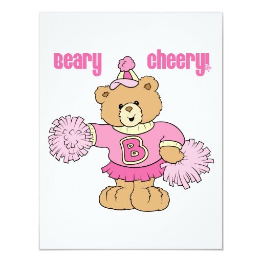 Oso que anima alegre de Beary Invitación 10,8 X 13,9 Cm