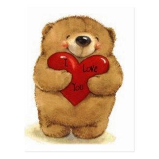 Oso que lleva a cabo amor del Corazón-Yo usted Postal