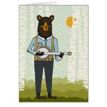 Oso que toca el banjo tarjeta de felicitación
