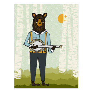 Oso que toca el banjo tarjeta postal
