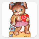 Oso retro Cub del kitsch de la tarjeta del día de Pegatina Cuadrada