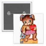 Oso retro Cub del kitsch de la tarjeta del día de  Pins