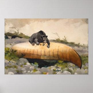 Oso retro del arte de la naturaleza con una canoa