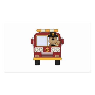 Oso rojo del coche de bomberos tarjetas de visita