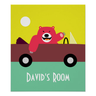 Oso rojo en poster convertible