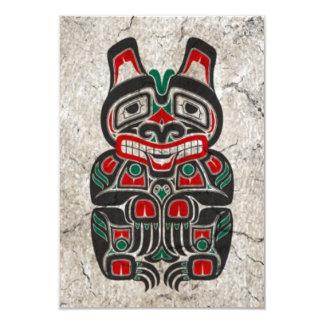 Oso rojo y verde agrietado del alcohol del Haida Invitación 8,9 X 12,7 Cm