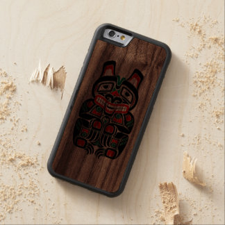 Oso rojo y verde del alcohol del Haida Funda De iPhone 6 Bumper Nogal