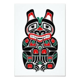 Oso rojo y verde del alcohol del Haida Invitación 8,9 X 12,7 Cm