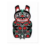 Oso rojo y verde del alcohol del Haida Postal