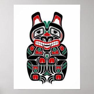 Oso rojo y verde del alcohol del Haida Póster