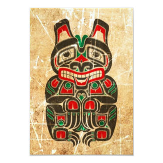 Oso rojo y verde rasguñado y llevado del alcohol invitación 8,9 x 12,7 cm
