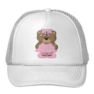 Oso rosado de la bailarina gorra