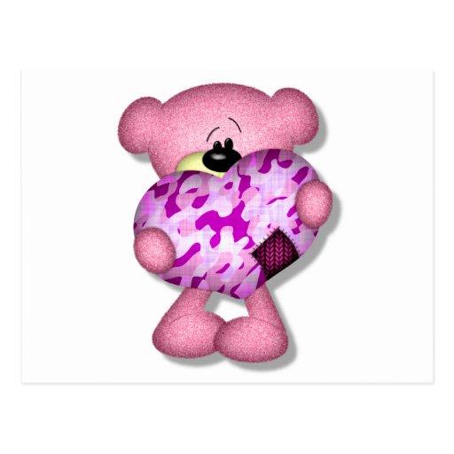 oso rosado del corazón del camo tarjetas postales