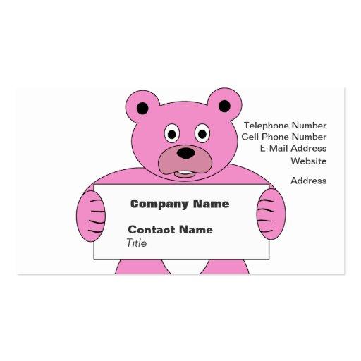 Oso rosado del dibujo animado con la muestra (añad plantilla de tarjeta personal