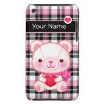Oso rosado lindo con el corazón rojo - personaliza barely there iPod cobertura