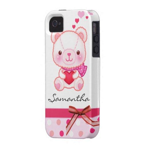 Oso rosado lindo con los corazones personalizados iPhone 4 funda