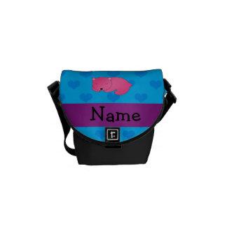Oso rosado personalizado el dormir del nombre bolsas de mensajería