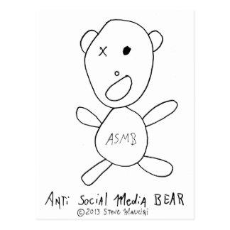 Oso social anti de los medios postal