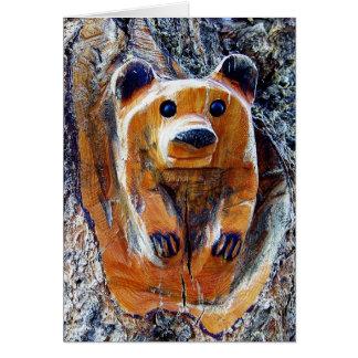 oso tallado tarjeta de felicitación