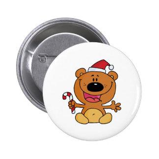 oso tonto del navidad de santa del bastón de caram pin redondo 5 cm