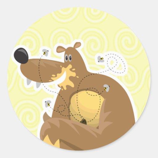 oso torpe que come la miel pegatina redonda