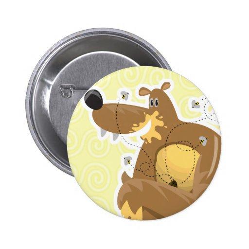 oso torpe que come la miel pin redondo 5 cm