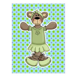 Oso verde del ballet del tutú postal