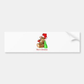 Oso WishesYou de Santa Felices Navidad Pegatina Para Auto