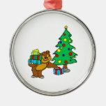 Oso y árbol de navidad de peluche ornamento para reyes magos