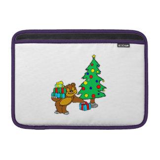 Oso y árbol de navidad de peluche funda macbook air