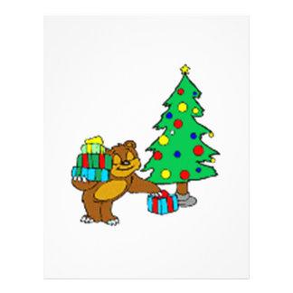 Oso y árbol de navidad de peluche membrete