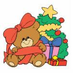Oso y árbol de navidad lindos del bebé esculturas fotográficas
