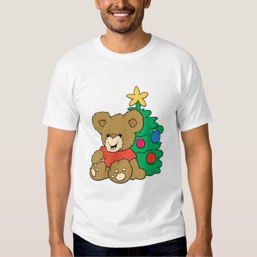 Oso y árbol de navidad lindos playeras
