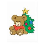Oso y árbol de navidad lindos postales