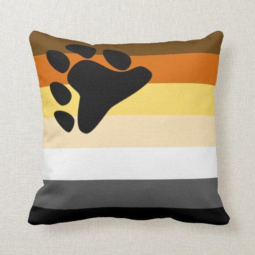 Oso y bandera del orgullo gay de la comunidad LGBT Cojines