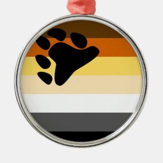 Oso y bandera del orgullo gay de la comunidad LGBT Adorno Redondo Plateado