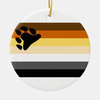 Oso y bandera del orgullo gay de la comunidad LGBT Adorno Redondo De Cerámica