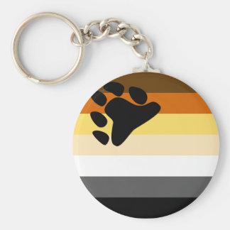 Oso y bandera del orgullo gay de la comunidad LGBT Llavero Redondo Tipo Pin